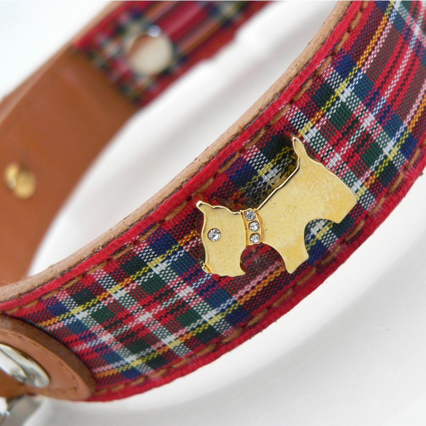 Highland Red Bling Tartan Collar Furberry